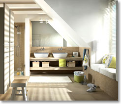 badezimmer unter dem dach mit k pfchen planen auf www. Black Bedroom Furniture Sets. Home Design Ideas
